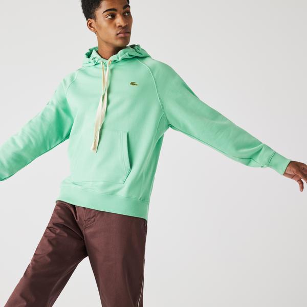 Lacoste L!ve Unisex Loose Fit Kapüşonlu Yeşil Sweatshirt