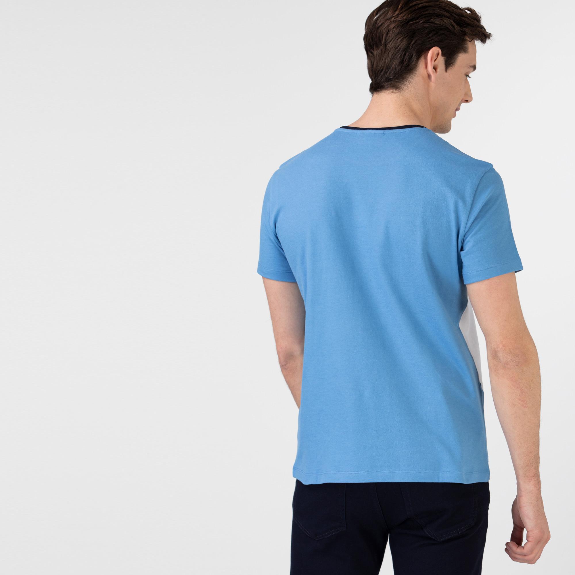 Lacoste Erkek Regular Fit Bisiklet Yaka Renk Bloklu Mavi T-Shirt