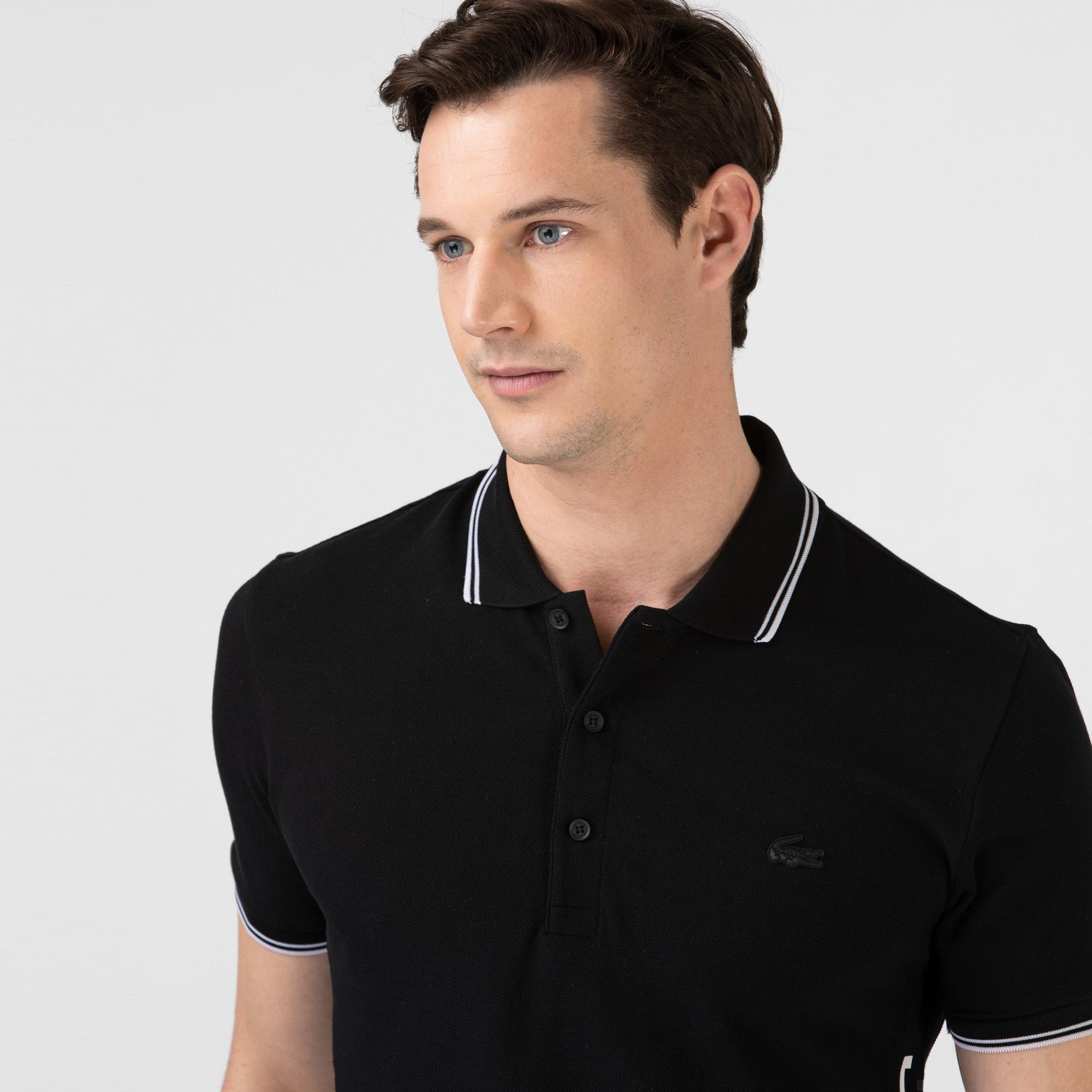 Lacoste Erkek Slim Fit Renk Bloklu Siyah Polo