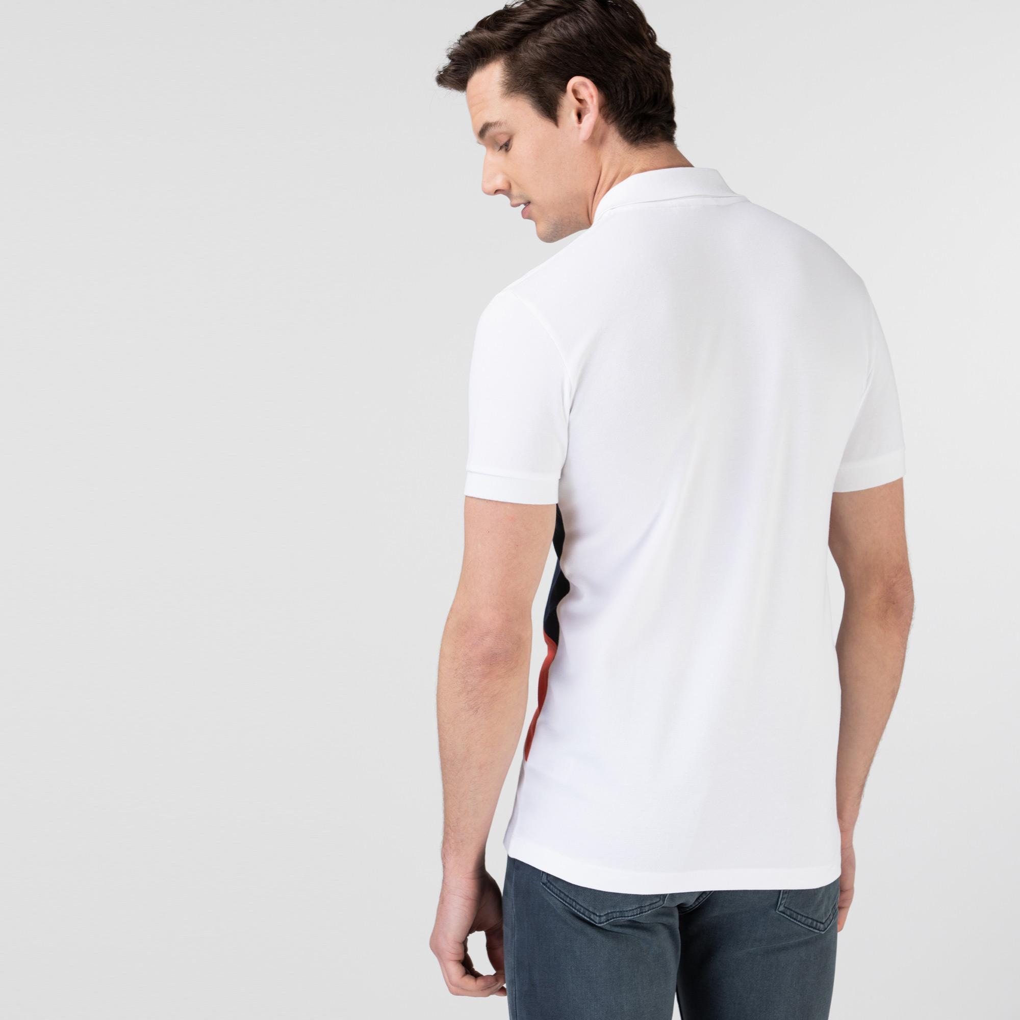 Lacoste Erkek Slim Fit Renk Bloklu Beyaz Polo