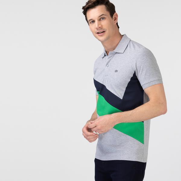 Lacoste Erkek Slim Fit Renk Bloklu Gri Polo