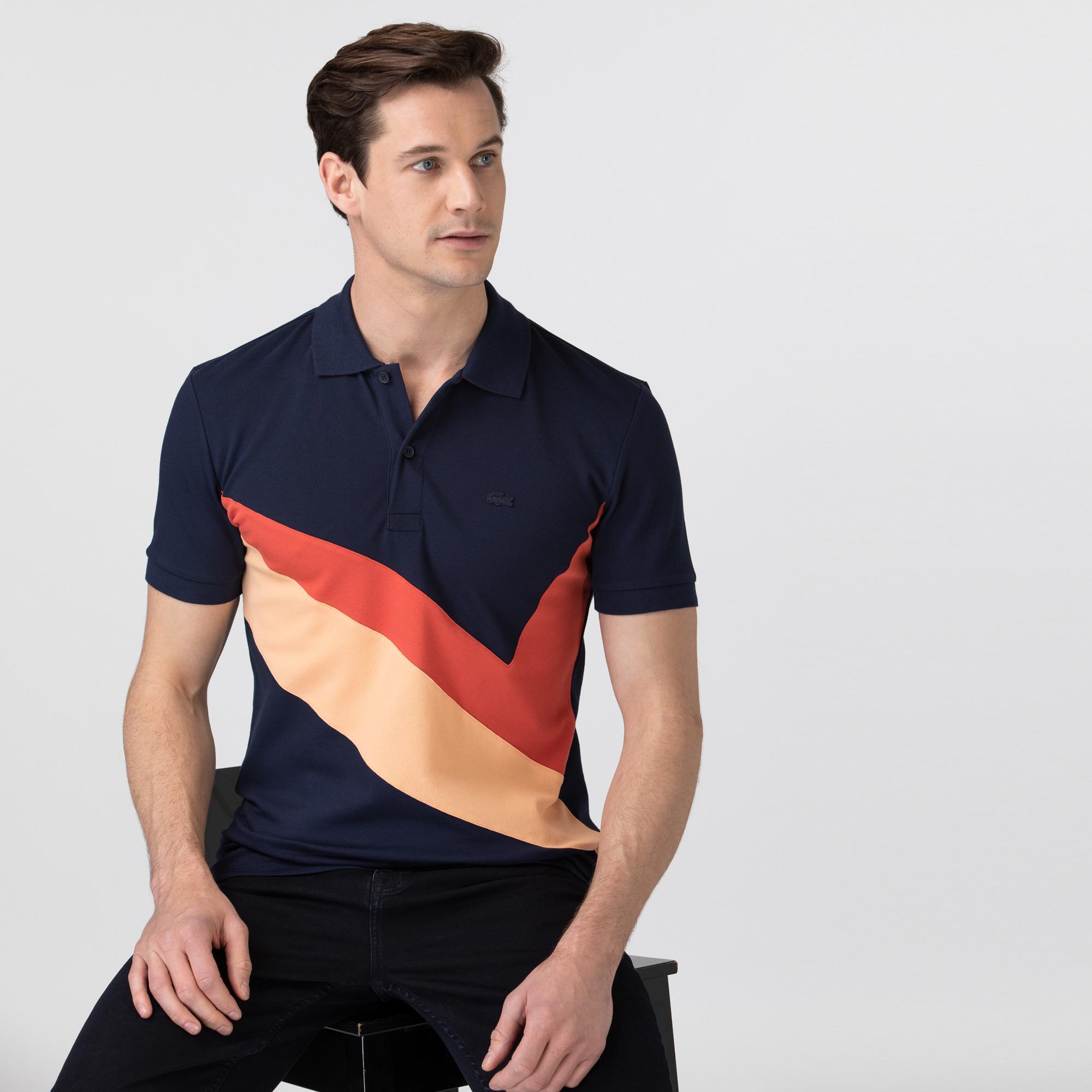 Lacoste Erkek Slim Fit Renk Bloklu Lacivert Polo