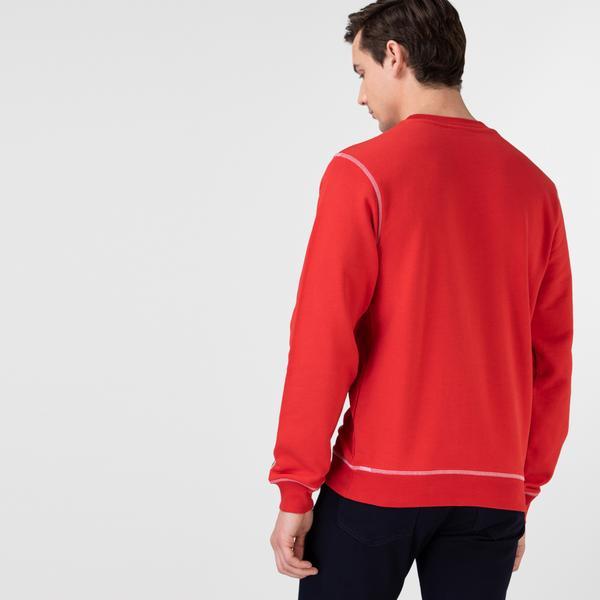 Lacoste Erkek Klasik Fit Bisiklet Yaka Baskılı Kırmızı Sweatshirt