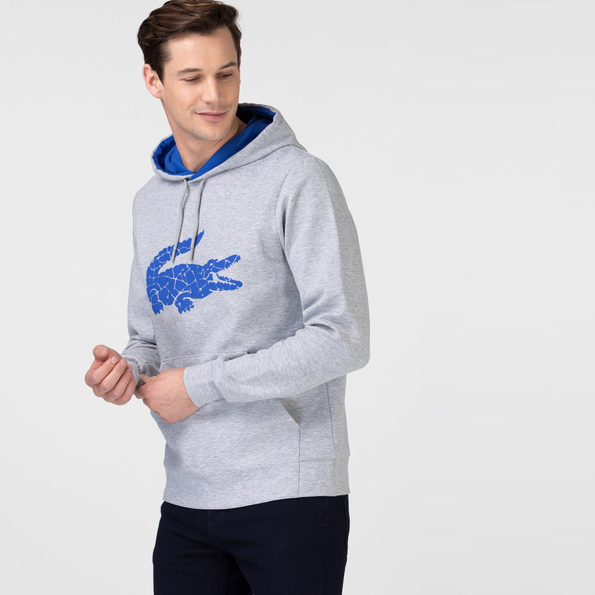 Lacoste Erkek Kapüşonlu Timsah Baskılı Gri Sweatshirt