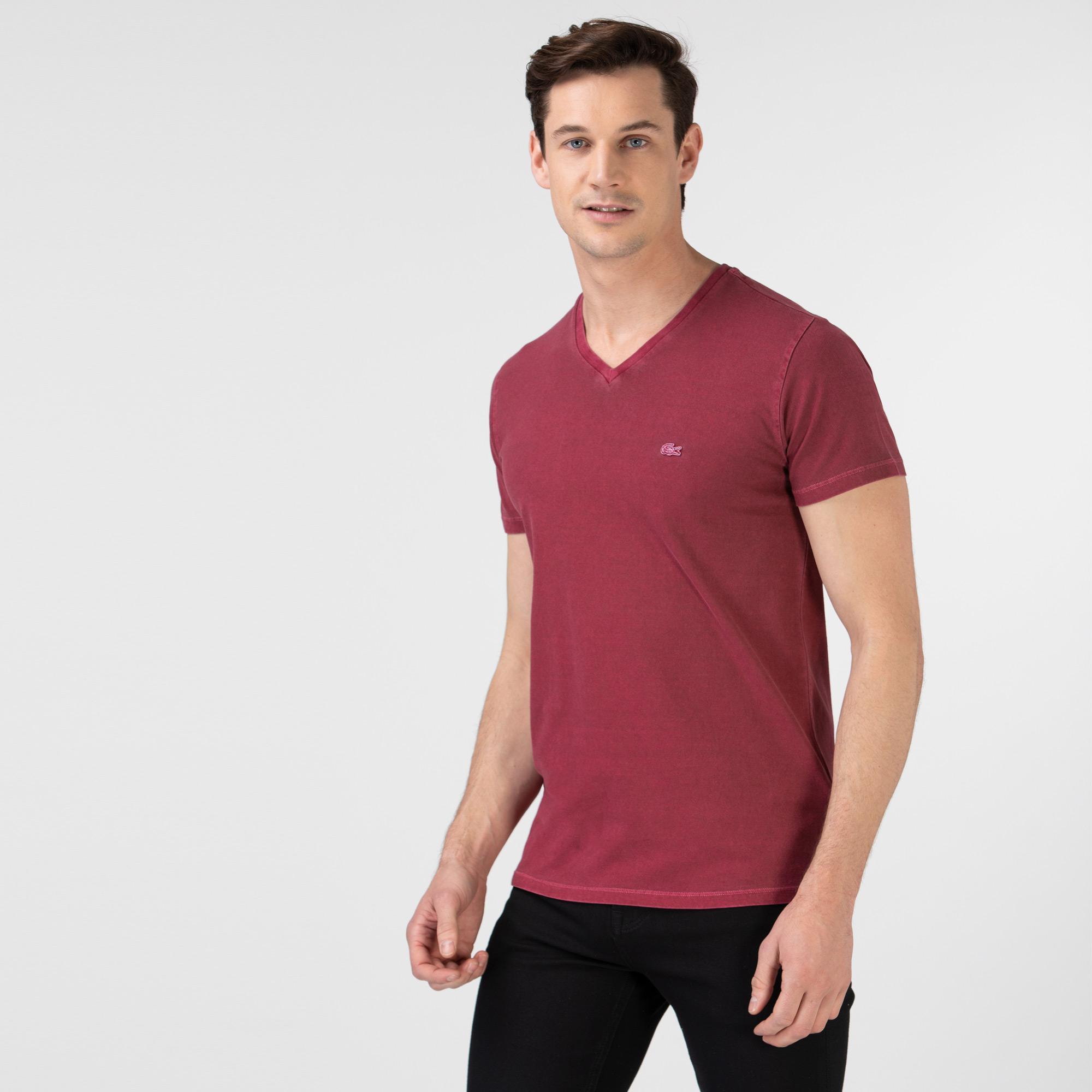 Lacoste Erkek Slim Fit V Yaka Bordo T-Shirt