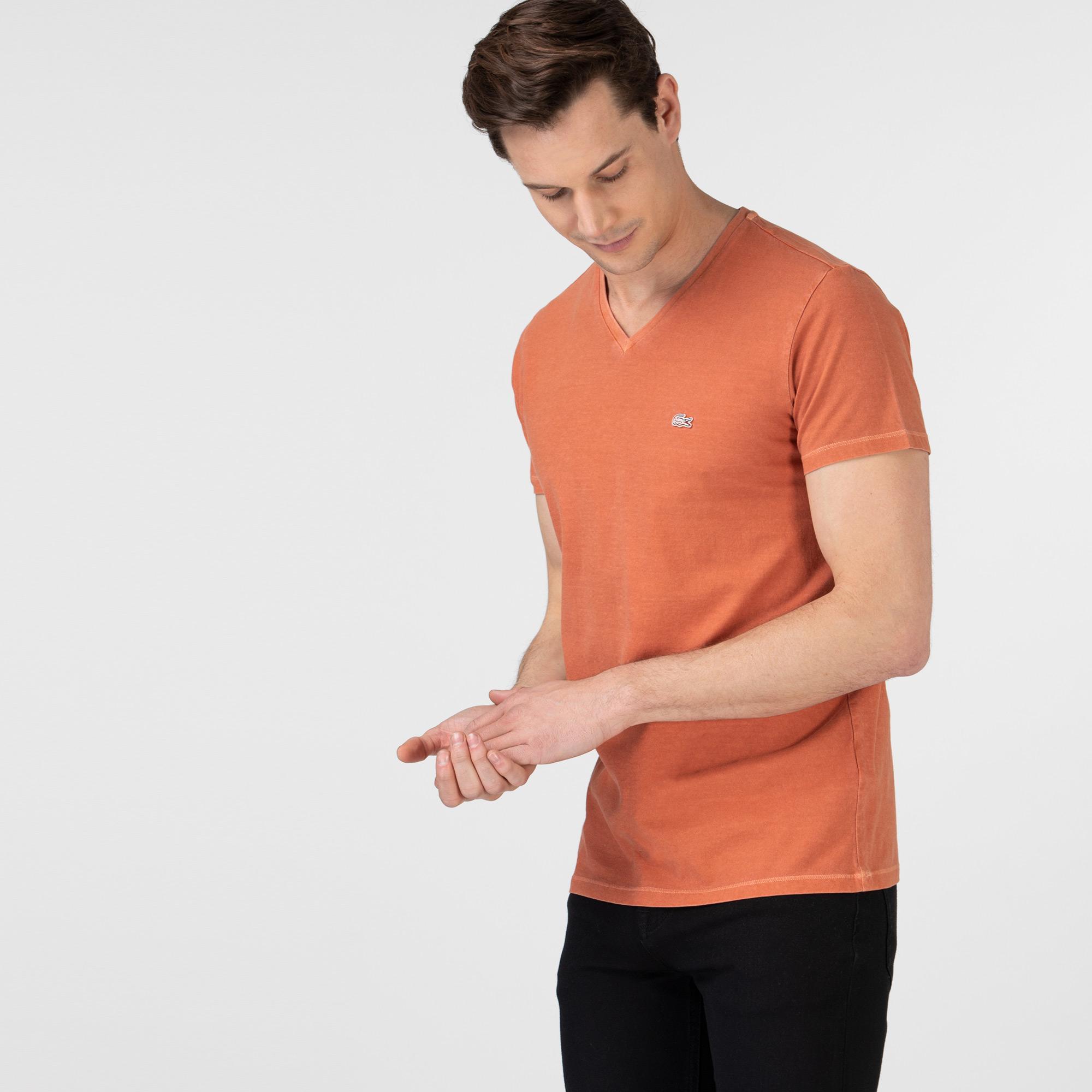 Lacoste Erkek Slim Fit V Yaka Turuncu T-Shirt
