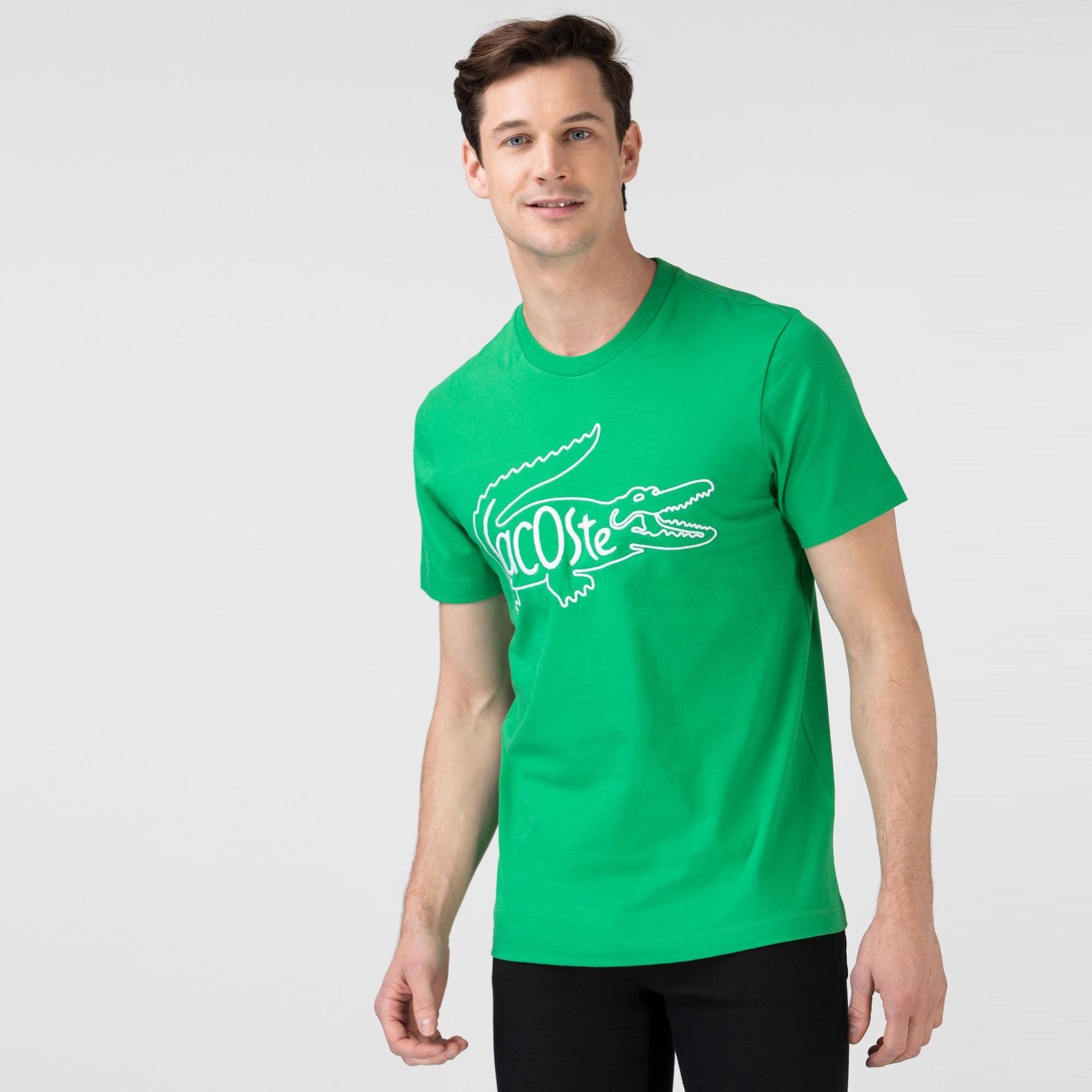 Lacoste Erkek Regular Fit Bisiklet Yaka Nakışlı Yeşil T-Shirt