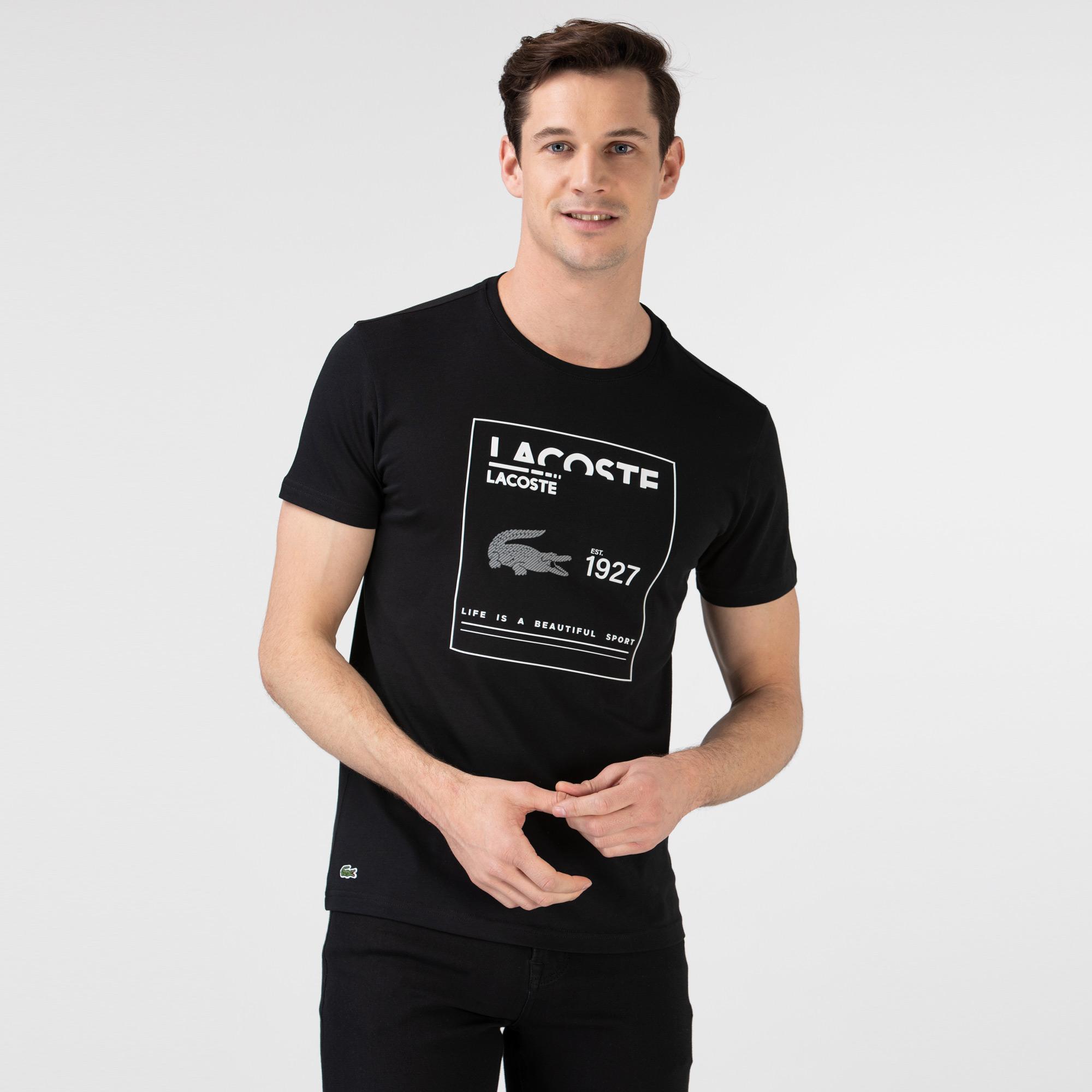 Lacoste Erkek Slim Fit Bisiklet Yaka Baskılı Siyah T-Shirt