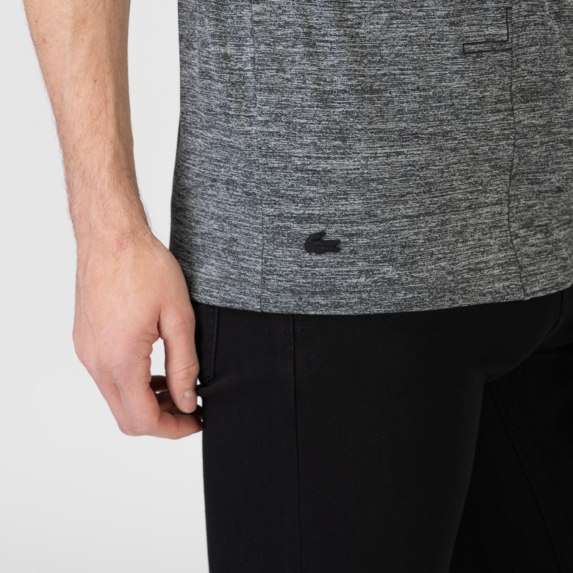 Lacoste Erkek Slim Fit Bisiklet Yaka Baskılı Gri T-Shirt