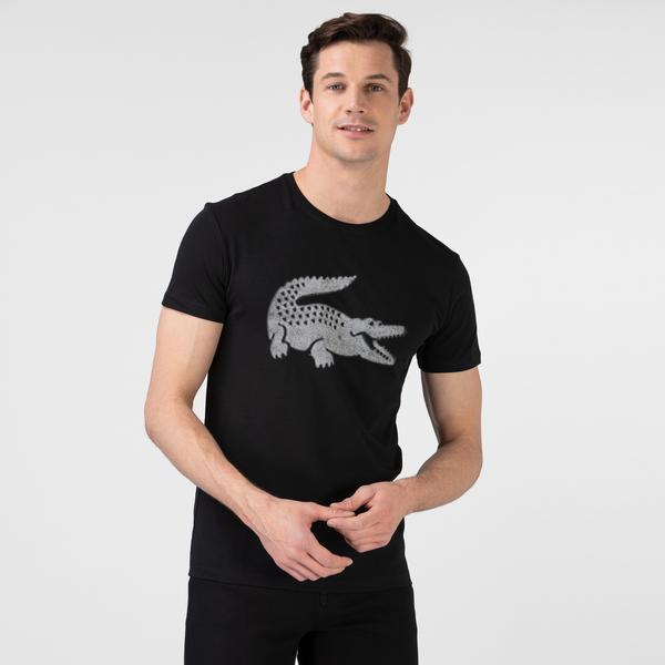 Lacoste Erkek Slim Fit Bisiklet Yaka Timsah Baskılı Siyah T-Shirt