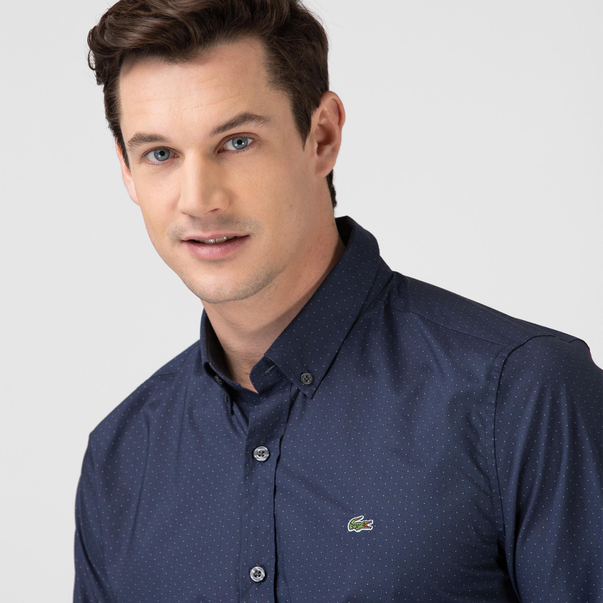 Lacoste Erkek Slim Fit Baskılı Lacivert Gömlek