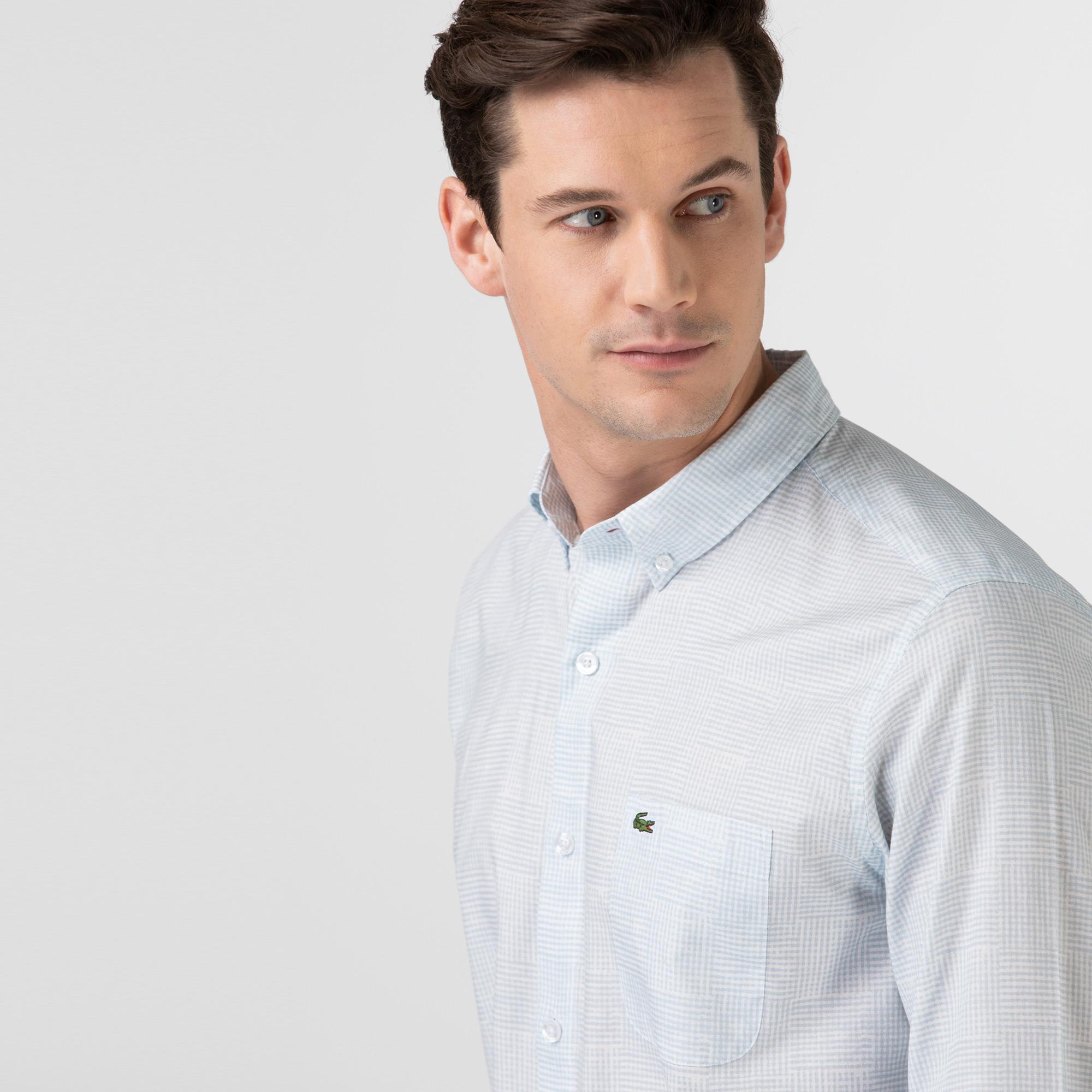 Lacoste Erkek Regular Fit Desenli Açık Mavi Gömlek