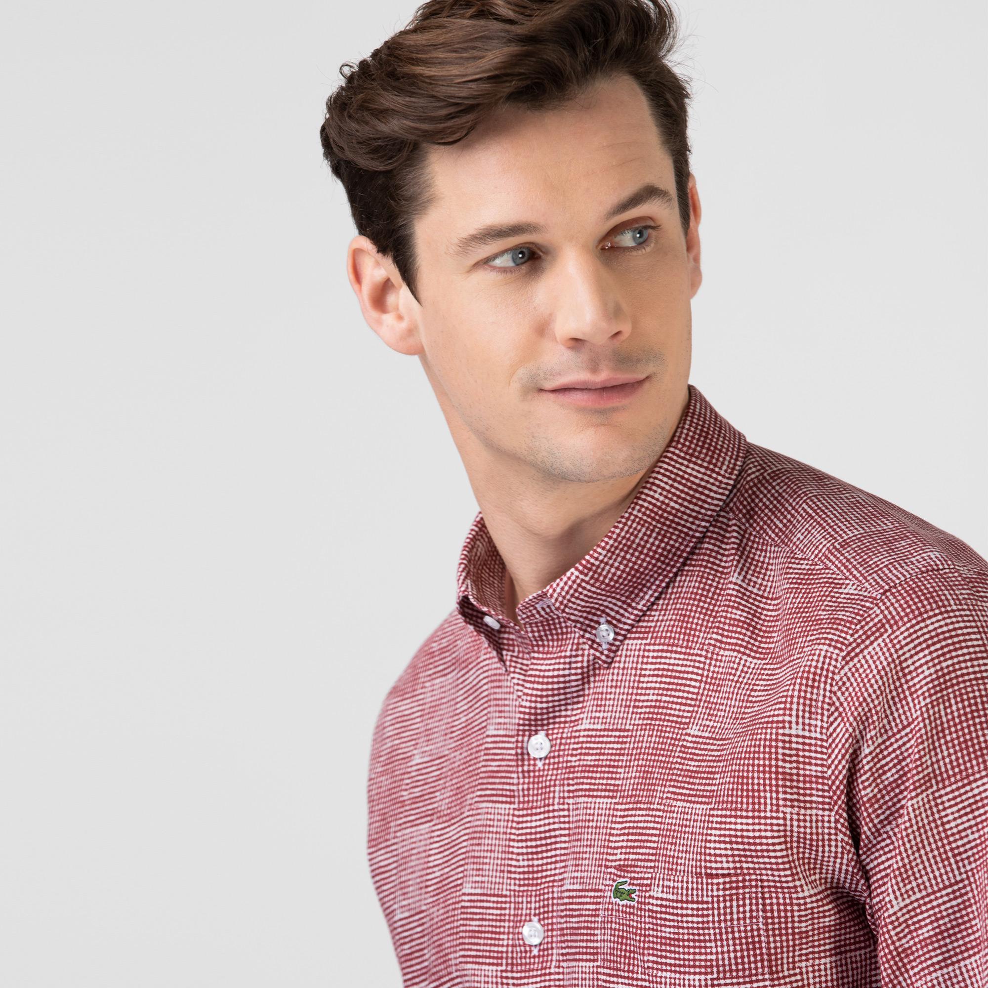 Lacoste Erkek Regular Fit Desenli Bordo Gömlek