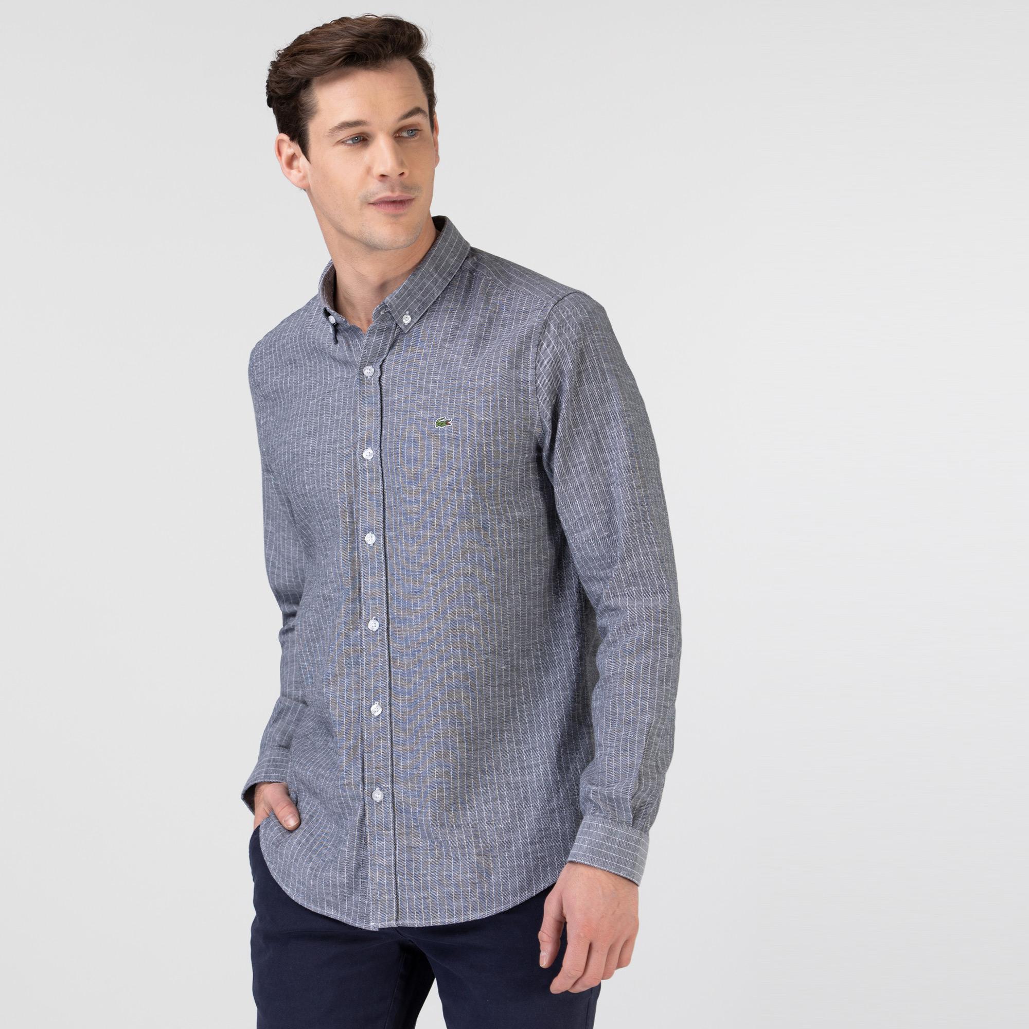 Lacoste Erkek Slim Fit Çizgili Açık Gri Gömlek