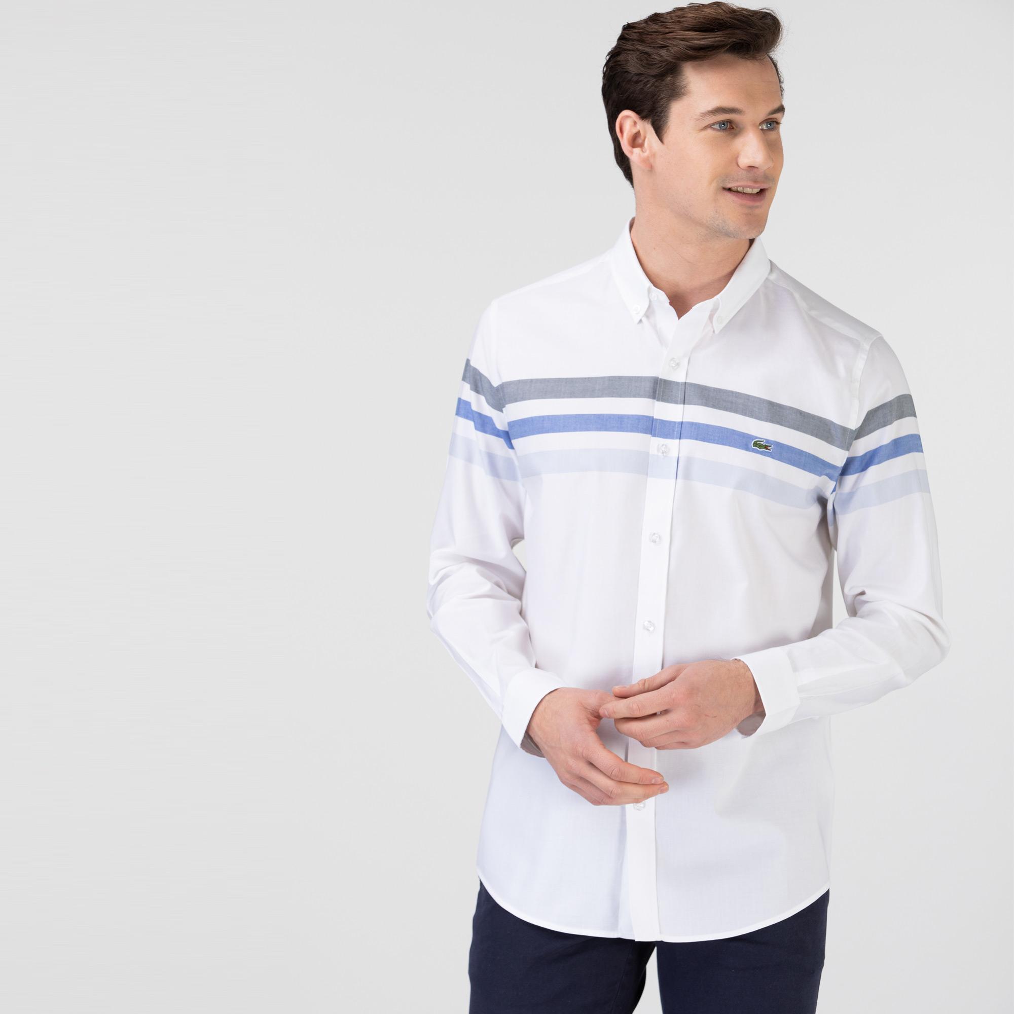 Lacoste Erkek Slim Fit Çizgili Beyaz - Mavi Gömlek