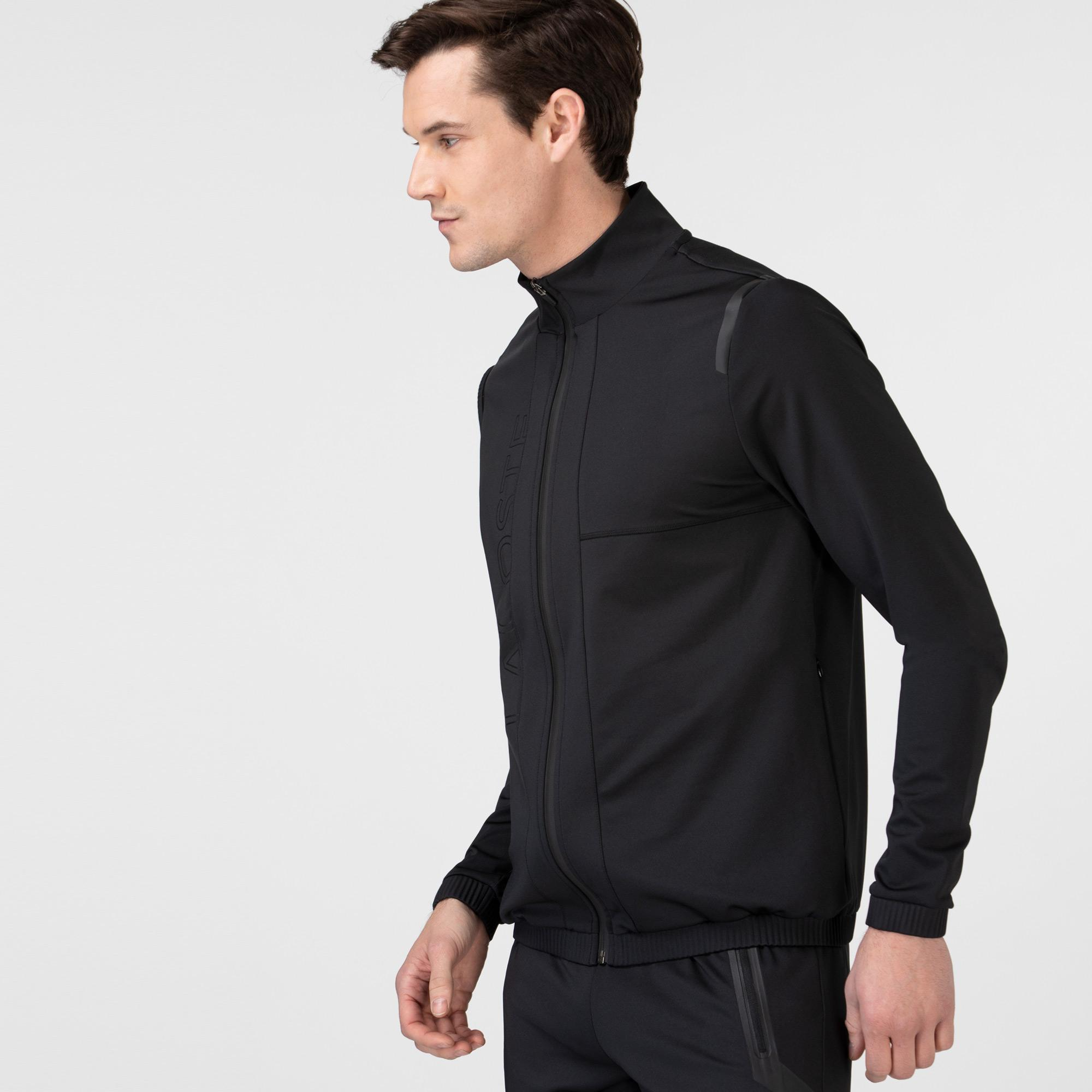 Lacoste Erkek Fermuarlı Baskılı Siyah Sweatshirt
