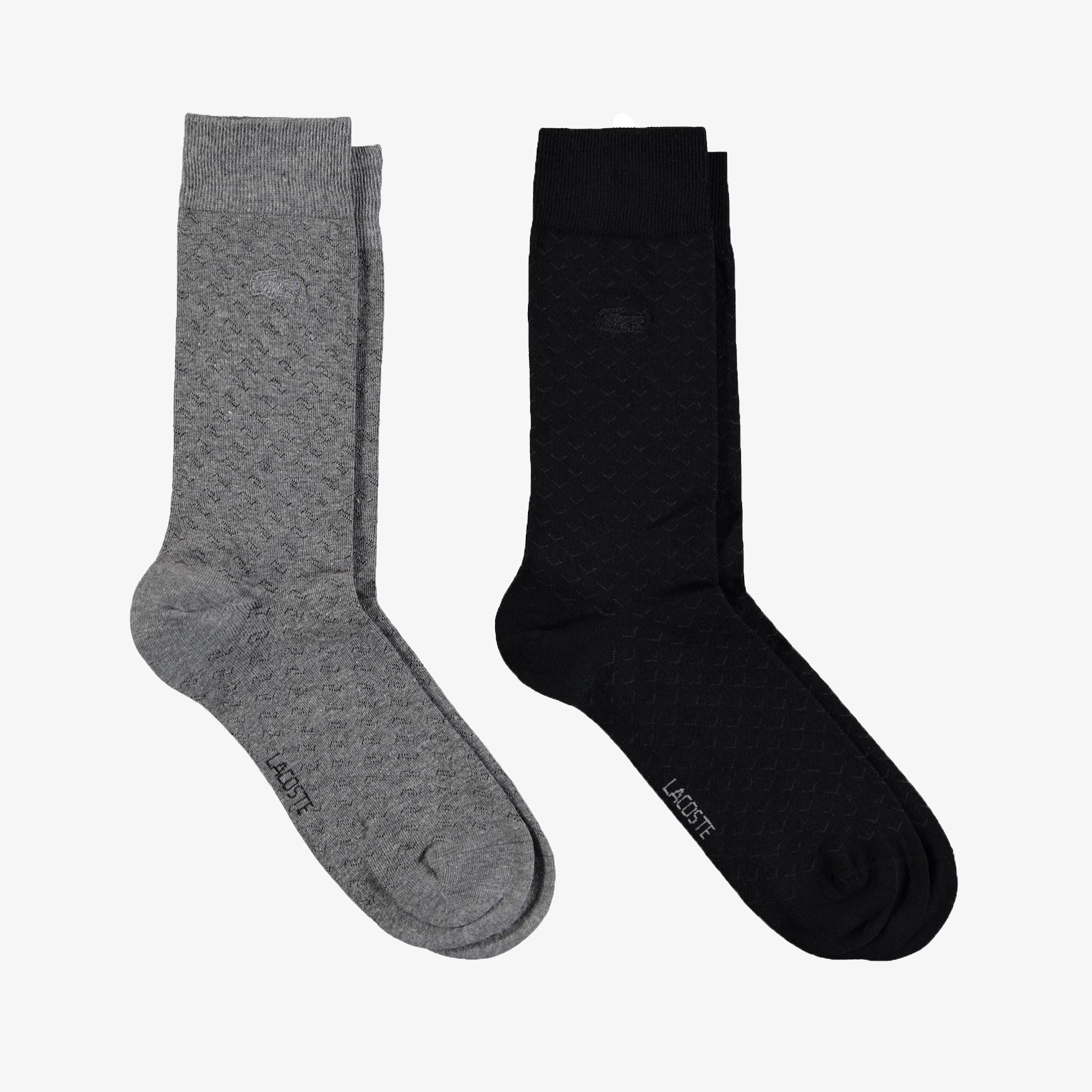 Lacoste Unisex Uzun Desenli Gri - Siyah Çorap