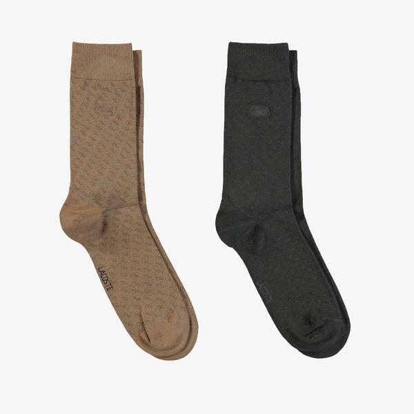 Lacoste Unisex Uzun Desenli Mavi - Kahverengi Çorap