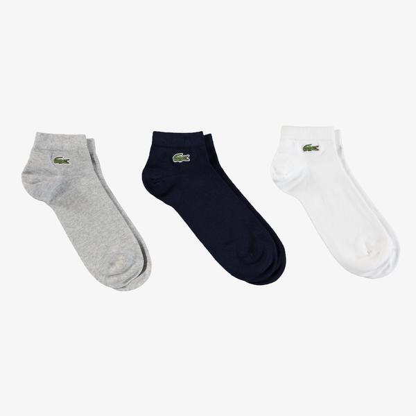 Lacoste Sport Erkek Kısa Beyaz - Lacivert - Gri Çorap