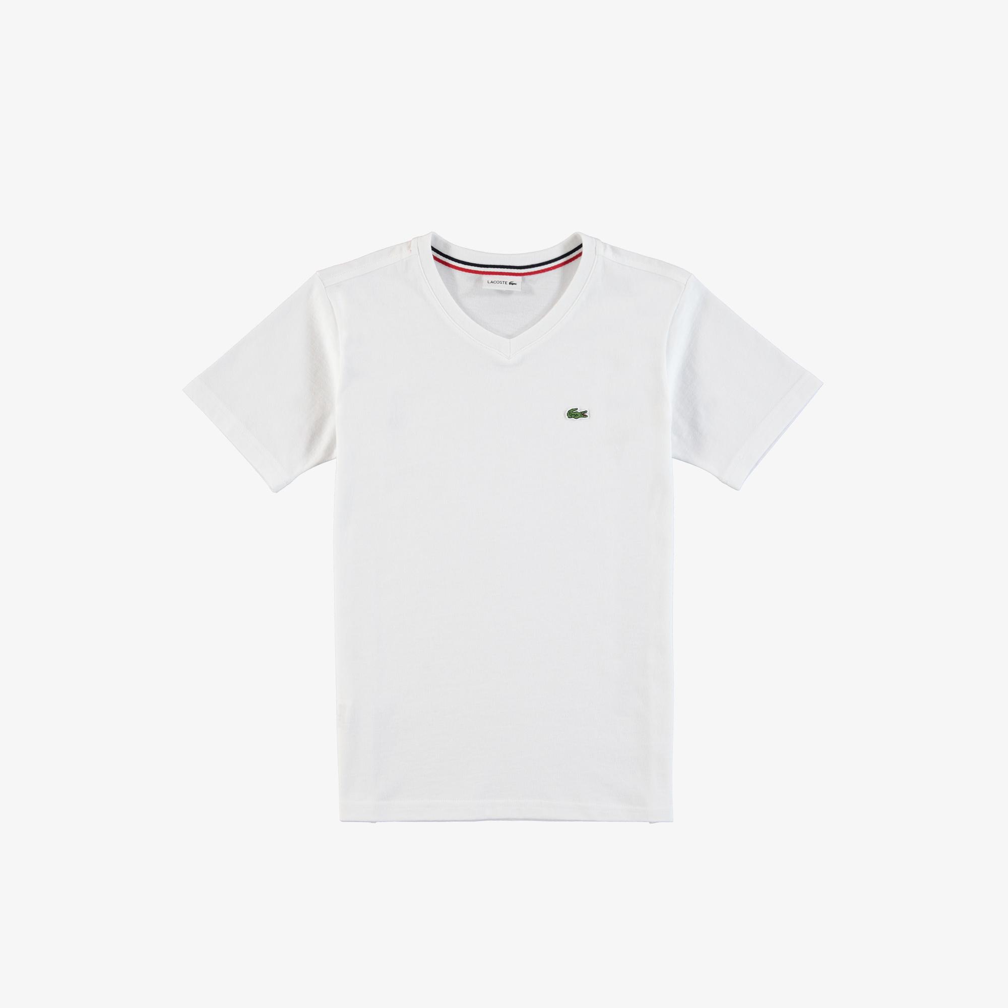 Lacoste Çocuk V Yaka Beyaz T-Shirt