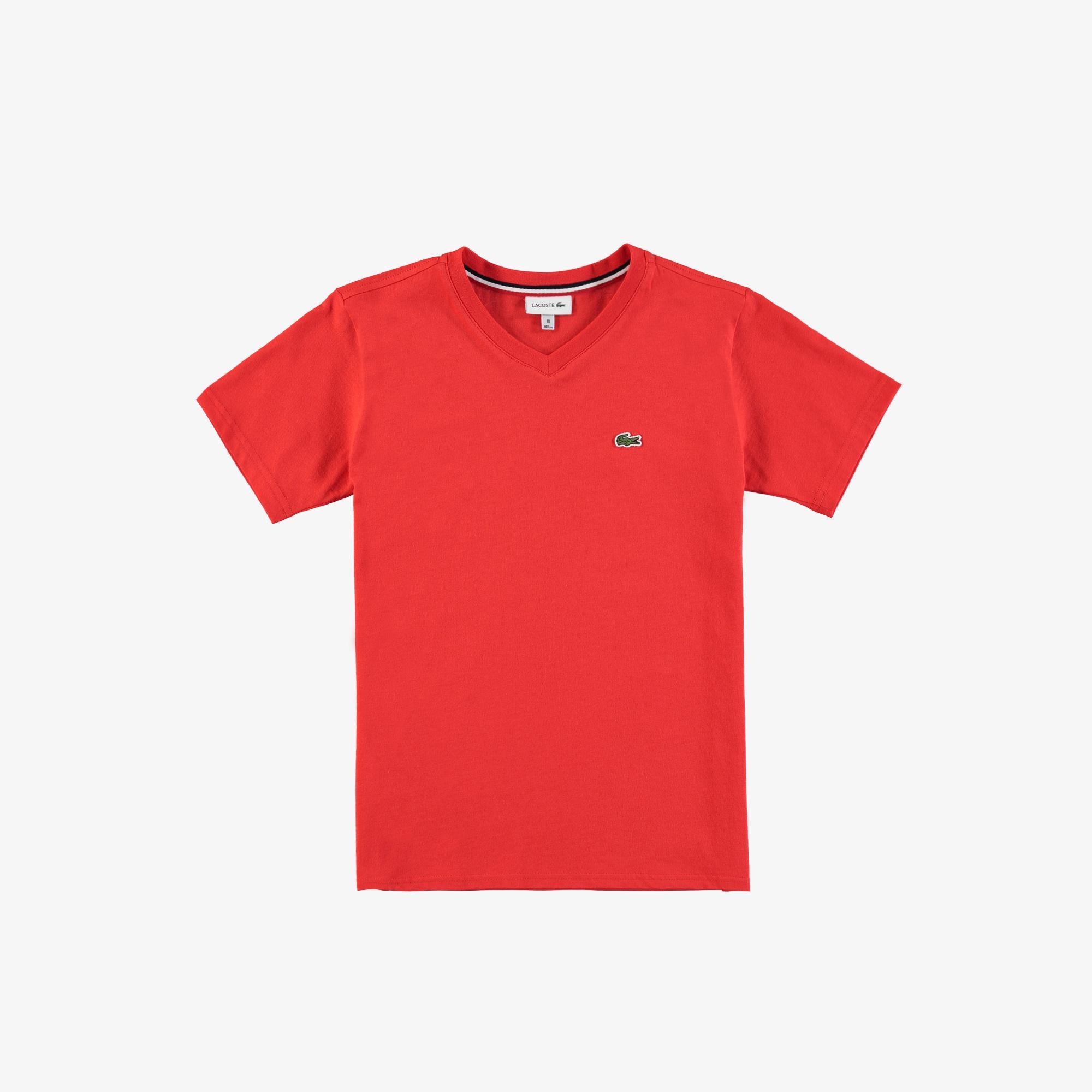 Lacoste Çocuk V Yaka Kırmızı T-Shirt
