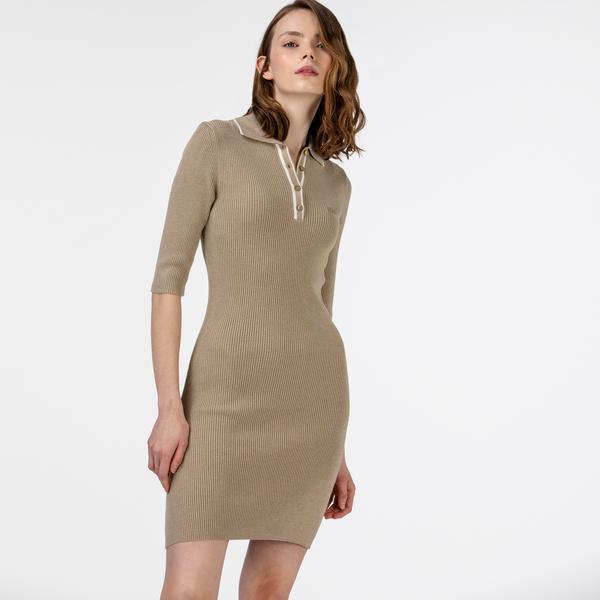 Lacoste Kadın Çizgili Kısa Kollu Polo Yaka Bej Elbise