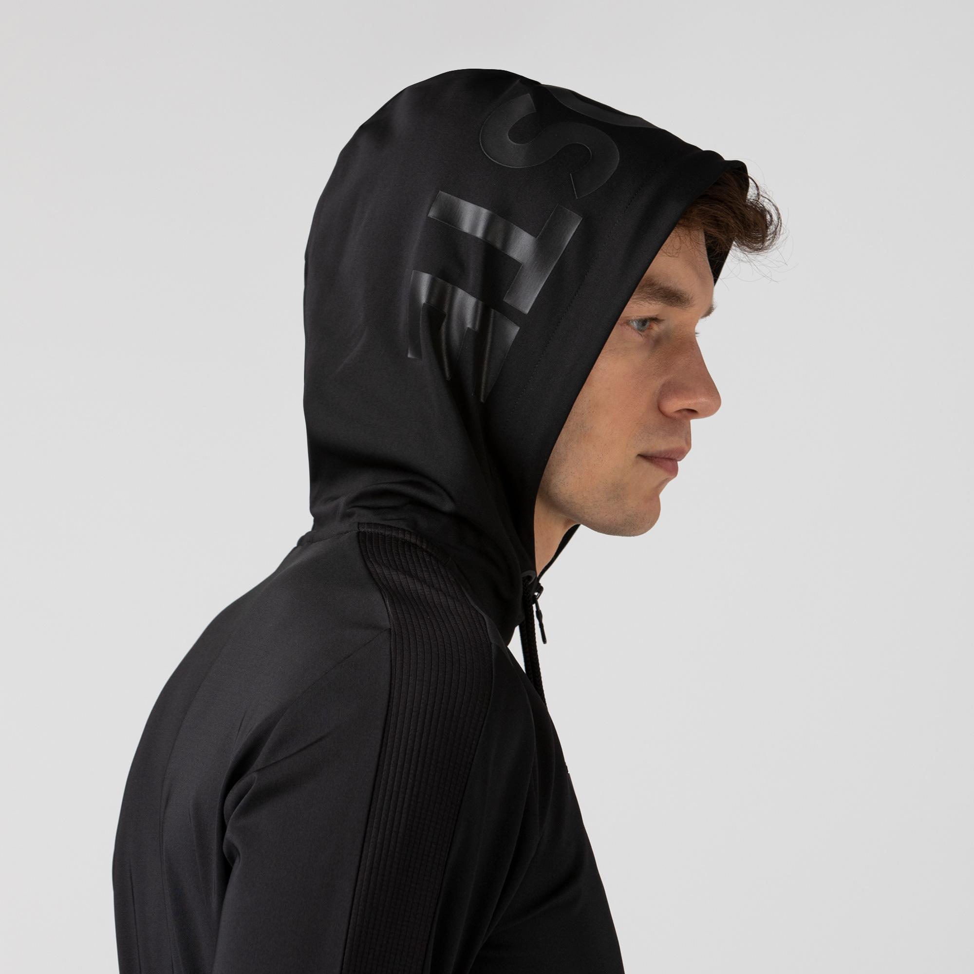 Lacoste Erkek Fermuarlı Kapüşonlu Baskılı Siyah Sweatshirt