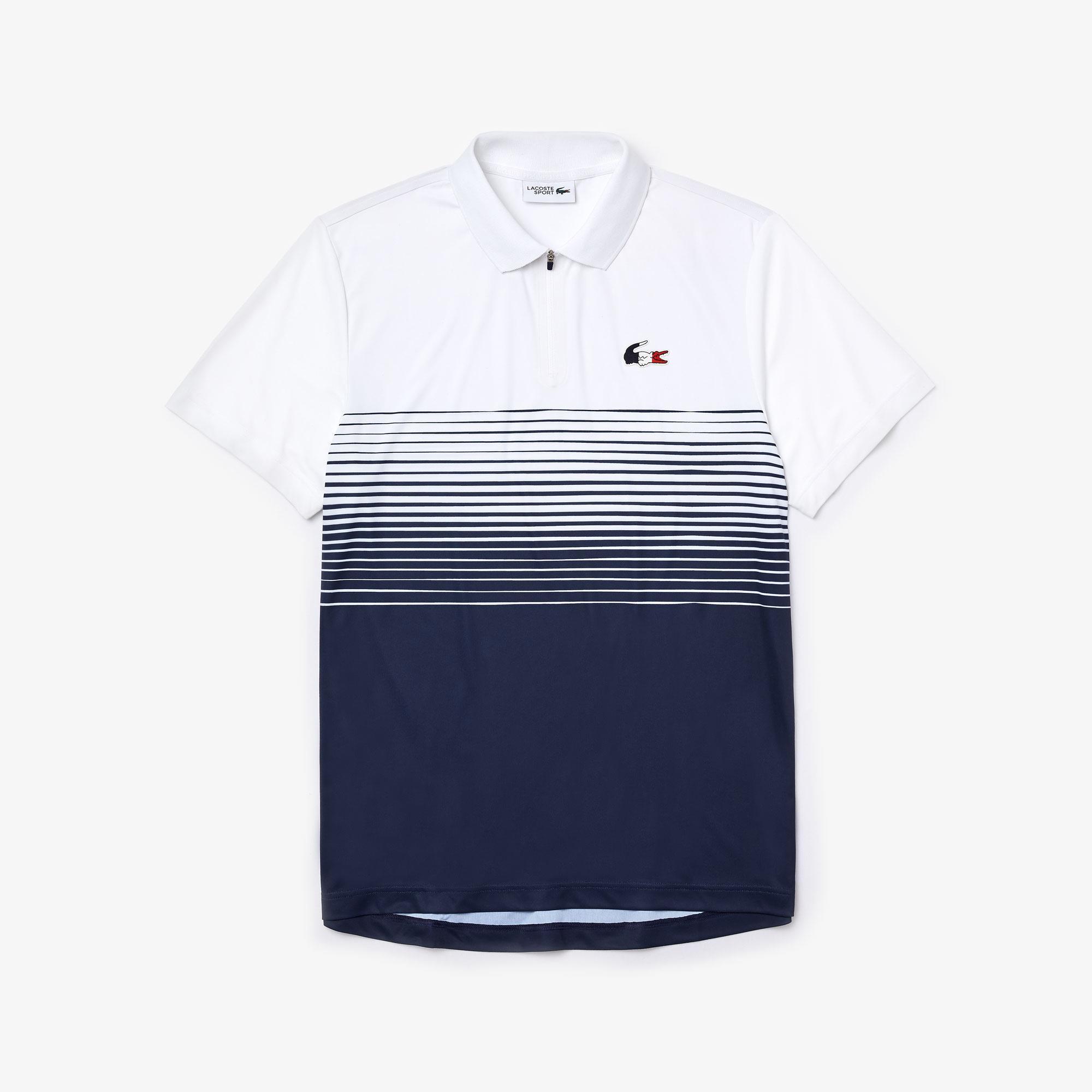Lacoste X Tokyo Olympics Sport Erkek Renk Bloklu Fermuarlı Yaka Lacivert - Beyaz Polo