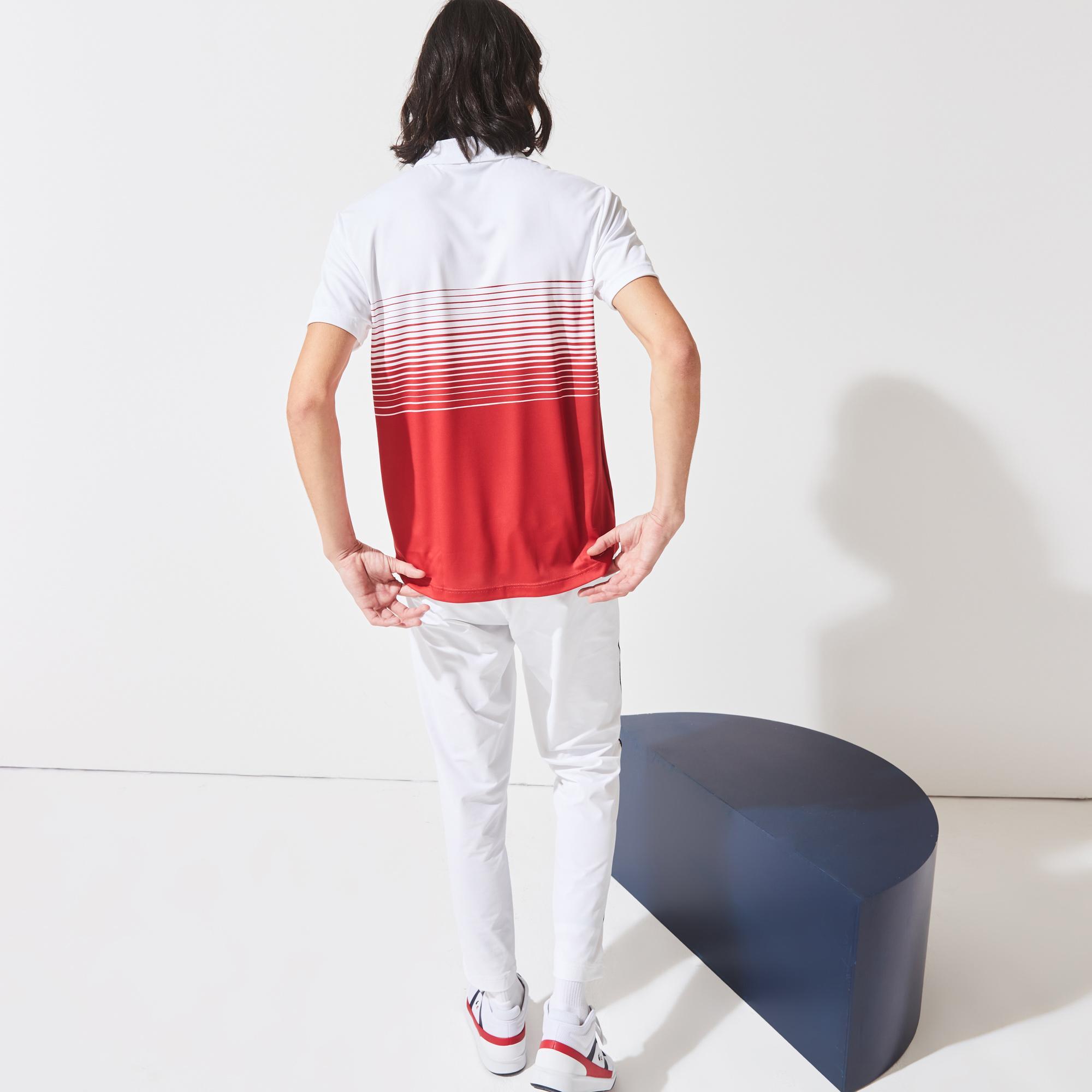 Lacoste X Tokyo Olympics Sport Erkek Renk Bloklu Fermuarlı Yaka Kırmızı - Beyaz Polo