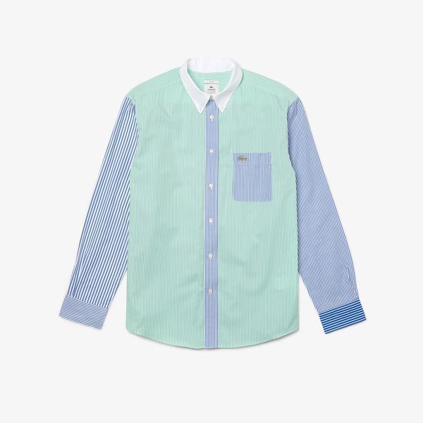 Lacoste L!ve Unisex Rahat Fit Çizgili Renkli Gömlek