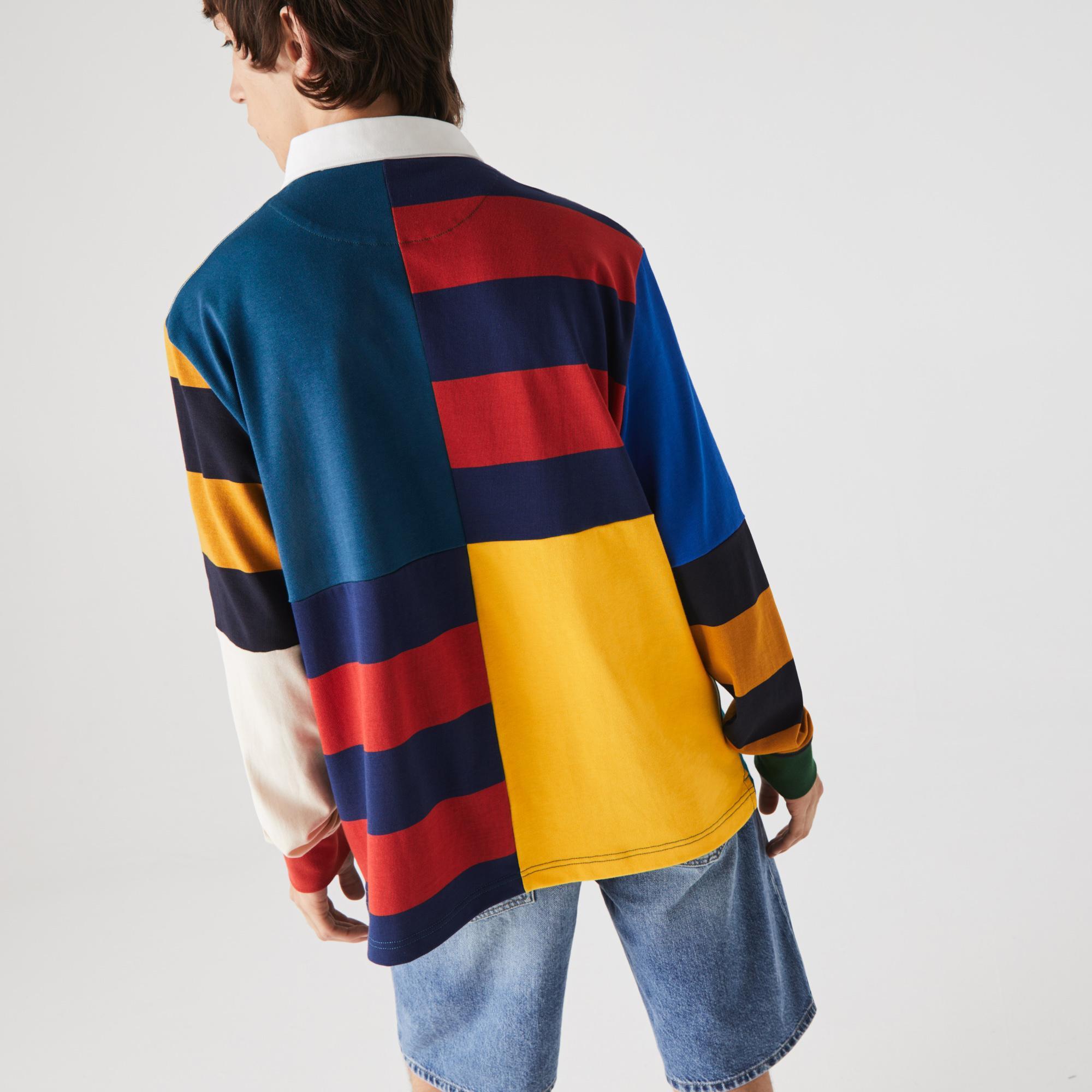Lacoste L!ve Erkek Loose Fit Uzun Kollu Renk Bloklu Renkli Polo