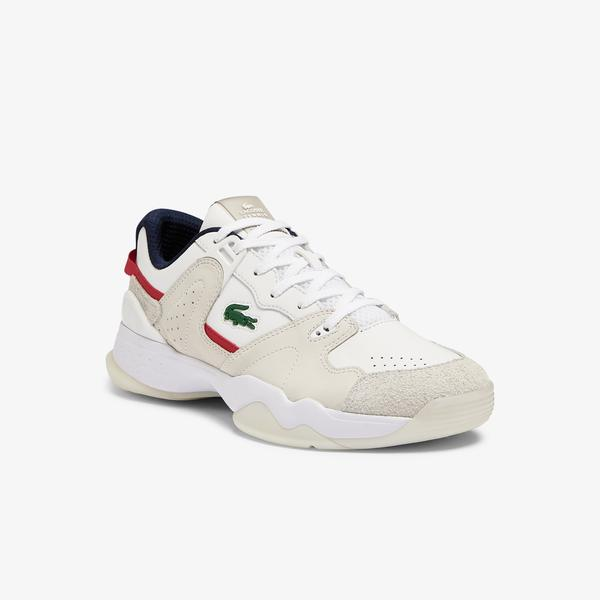 Lacoste T-Point 0721 1 G Sma Erkek Bej - Kırmızı Sneaker