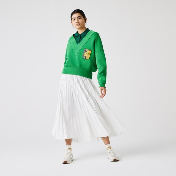 Lacoste L!ve Kadın V Yaka Yeşil Triko Kazak