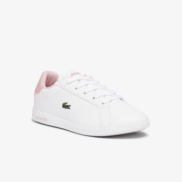 Lacoste Graduate 0721 1 Suc Çocuk Beyaz - Açık Pembe Sneaker