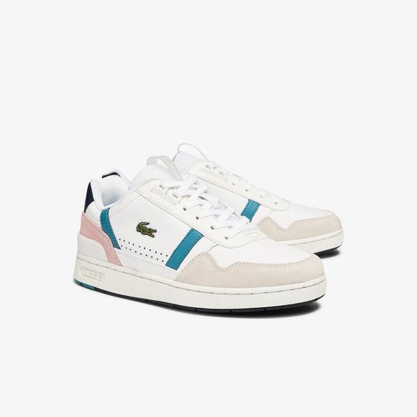 Lacoste T-Clip 0921 1 Sfa Kadın Beyaz - Turkuaz Sneaker
