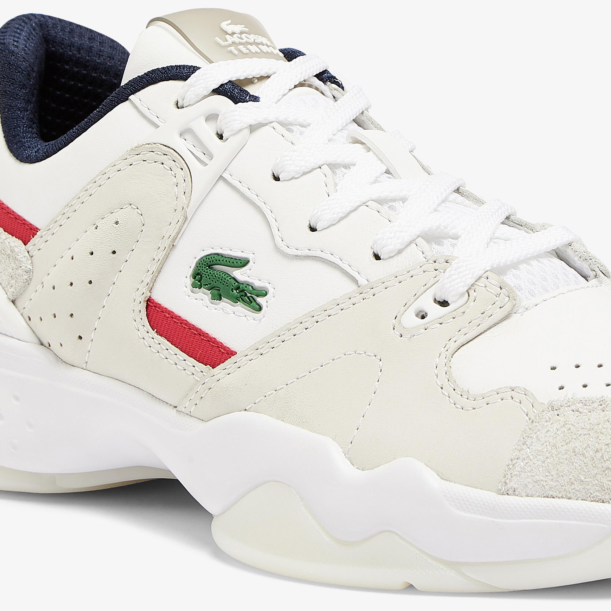 Lacoste T-Point 0721 1 G Sfa Kadın Deri Beyaz - Lacivert - Kırmızı Sneaker