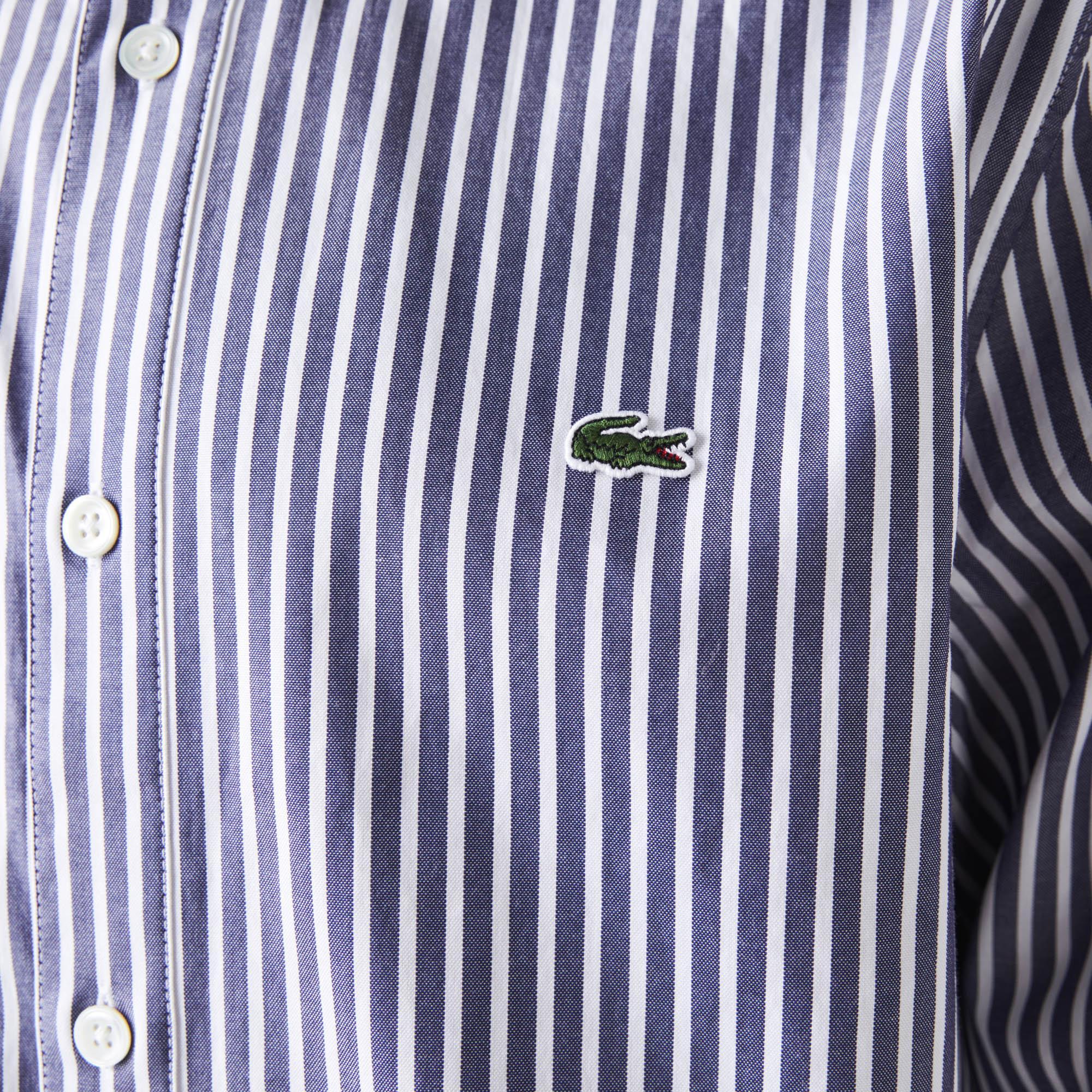 Lacoste Erkek Regular Fit Çizgili Beyaz - Lacivert Gömlek