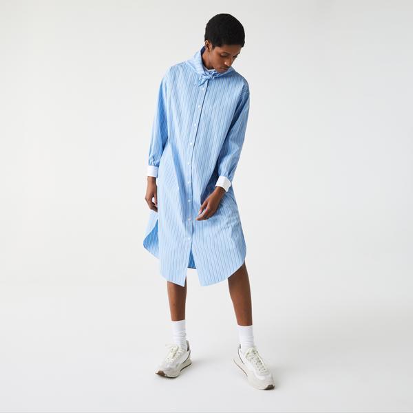 Lacoste L!ve Kadın Uzun Kollu Gömlek Yaka Çizgili Mavi - Beyaz Elbise