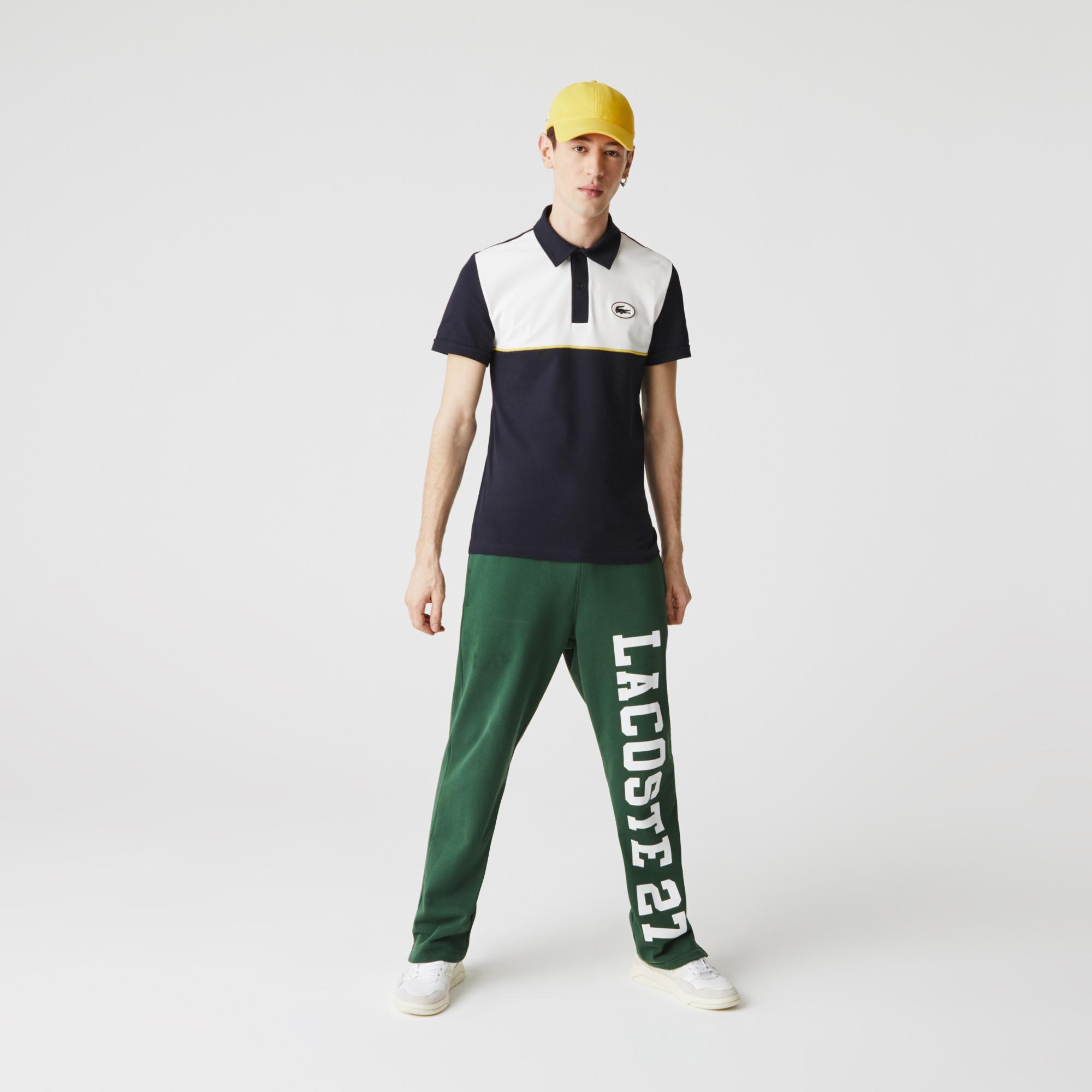 Lacoste Erkek Slim Fit Renk Bloklu Beyaz - Lacivert Polo