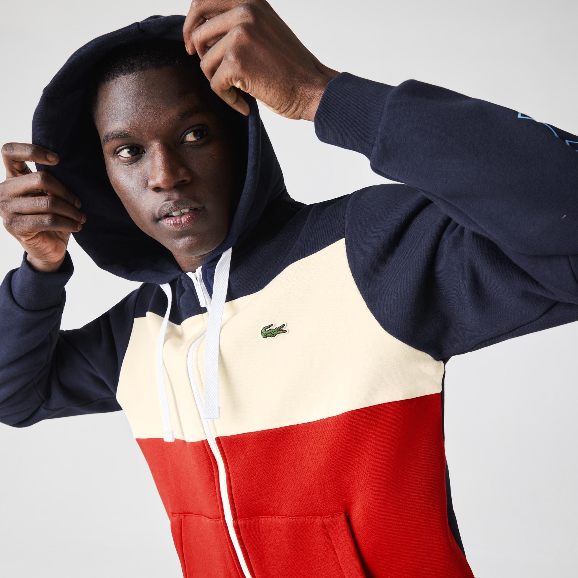 Lacoste Erkek Klasik Fit Fermuarlı Kapüşonlu Renk Bloklu Baskılı Renkli Sweatshirt