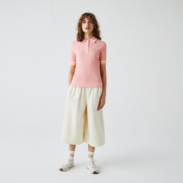 Lacoste Kadın Slim Fit Kısa Kollu Polo Yaka Pembe Triko Kazak