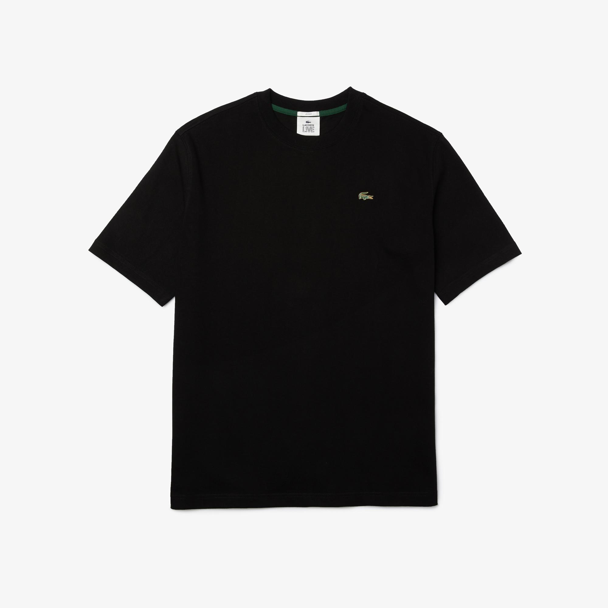 Lacoste L!ve Unisex Loose Fit Bisiklet Yaka Siyah T-Shirt