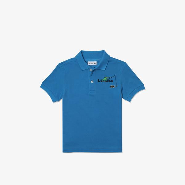 Lacoste Çocuk Baskılı Mavi Polo