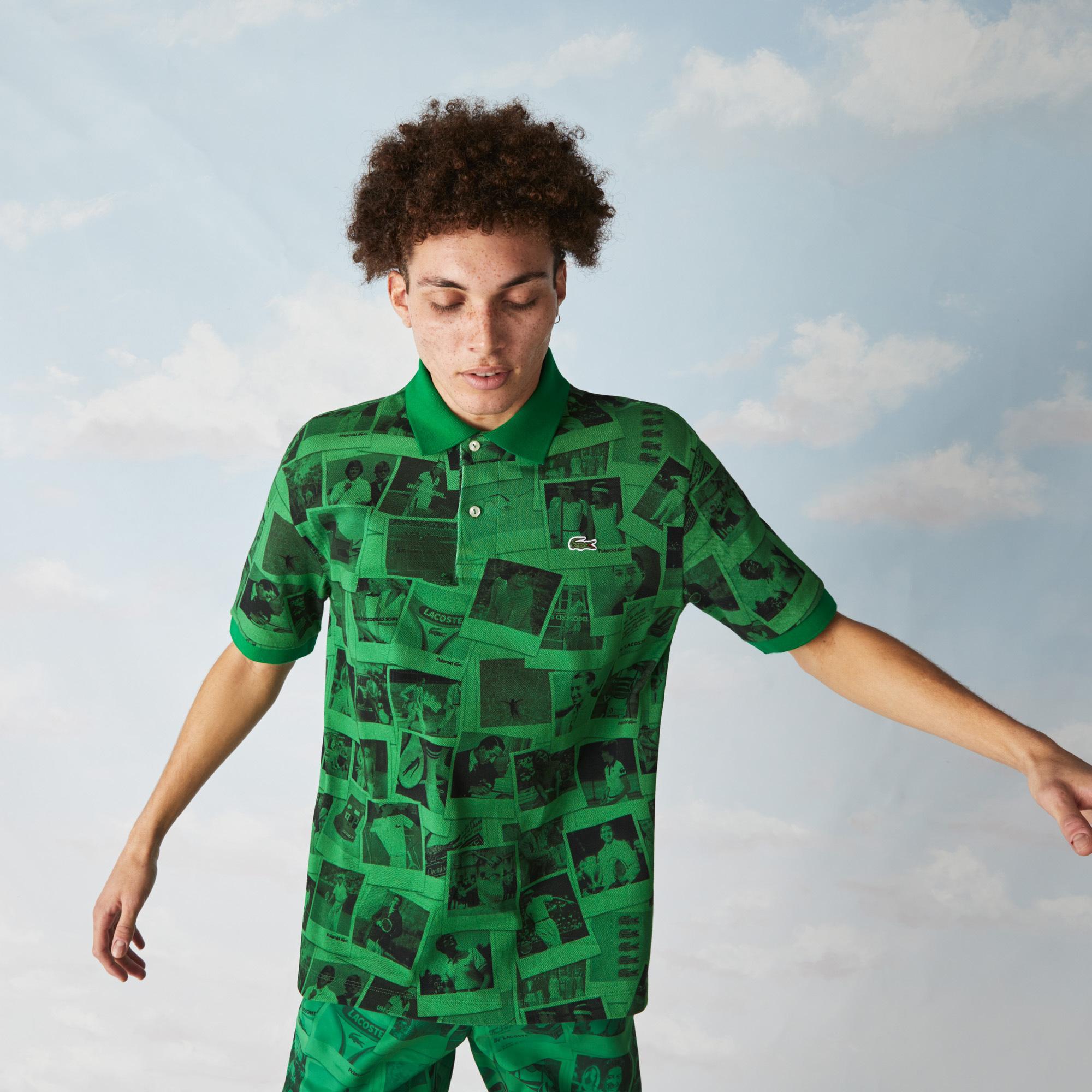 Lacoste L!ve X Polaroid Unisex Loose Fit Baskılı Yeşil Polo