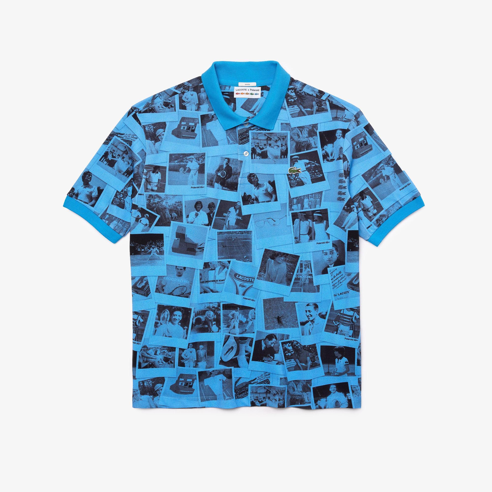 Lacoste L!ve x Polaroid Unisex Loose Fit Baskılı Mavi Polo
