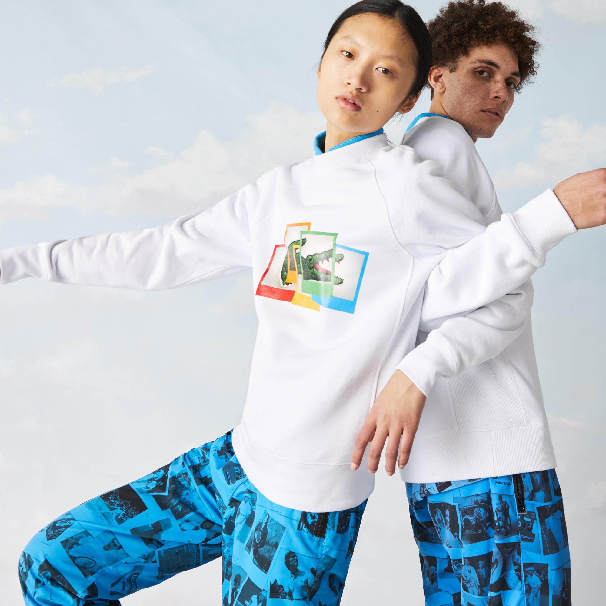 Lacoste L!ve X Polaroid Unisex Bisiklet Yaka Beyaz Sweatshirt