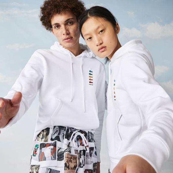 Lacoste L!ve X Polaroid Unisex Beyaz Sweatshirt