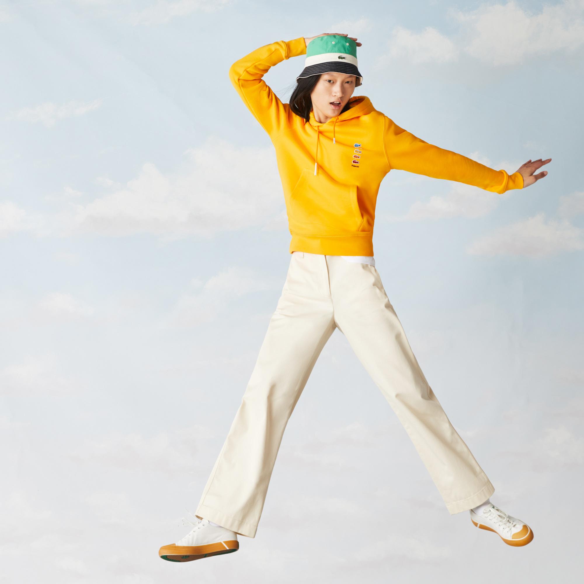 Lacoste X Polaroid Unisex Kapüşonlu Sarı Sweatshirt