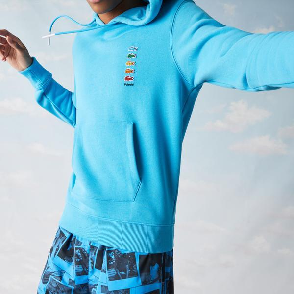 Lacoste X Polaroid Unisex Kapüşonlu Mavi Sweatshirt