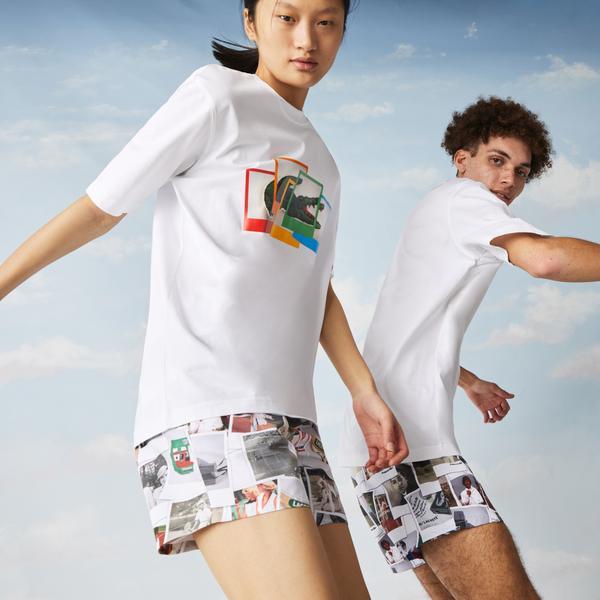 Lacoste L!ve X Polaroid  Unisex Loose Fit Bisiklet Yaka Baskılı Beyaz T-Shirt